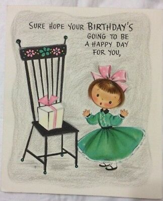 Vintage Birthday Card Lil Girl Fancy Dress Bow POP Out Cake Inside Hall Bros