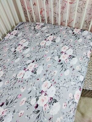 Pre-Order*300TC Cot Sheet,chic vintage pink & grey floral fitted sheet for Boori