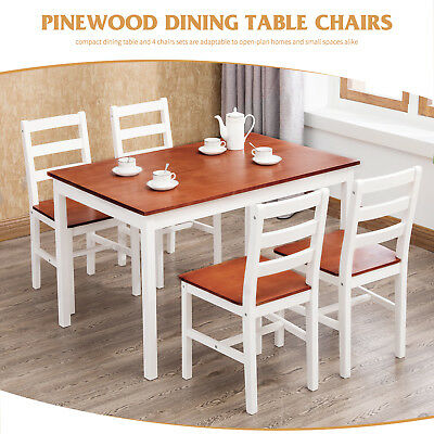 KENWELL PINE WOOD Dining Table And 4 Chairs Room Set Breakfast Kitchen Furniture