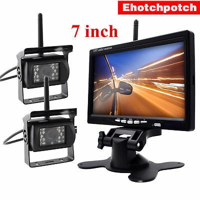 """2x Wireless Reversing Backup Camera System+7"""" Rear View Camera For Truck Trailer"""