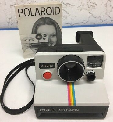 Vintage Polaroid One Step Rainbow Stripe SX-70 Instant Film Land Camera + Manual