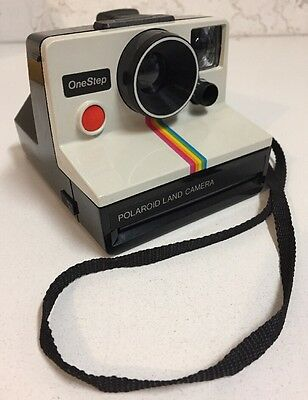 Vintage Polaroid OneStep SX-70 Rainbow Stripe Instant Land Camera White UK Made