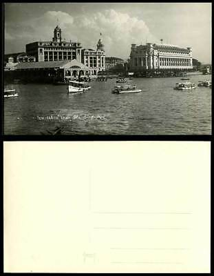 Singapore Old Postcard View Taken from Sea General Post Office Pier Harbour Boat