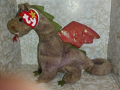 """Ty Beanie Babies 6.5"""" 1998 Scorch the Dragon Beanie Baby with Tush and Hang tags"""