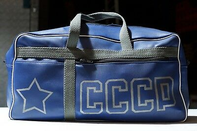 Genuine USSR Soviet Russian blue travel duffle bag rare vintage