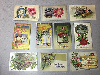 Antique Lot 10 New Years Day Themed Postcards 1912 Greeting Happy Wishes Cards