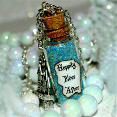 Something Blue, Happily Ever After Magic Magical glass Bottle Necklace