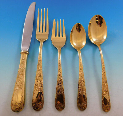 Old Maryland Engraved by Kirk Vermeil Sterling Silver Flatware Set Service 47 pc