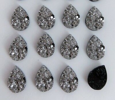 Dark Grey Teardrop Cabochons 10x14mm - 10/20pc - Druzy Resin Flat Back  FBC145