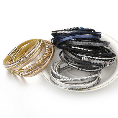 Fashion Women Multilayer Leather Rhinestone Crystal Beads Magnet Wrap Bracelet