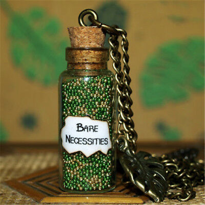 The Jungle Book, Magical Bare Necessities glass Bottle Necklacewith a Leaf Charm
