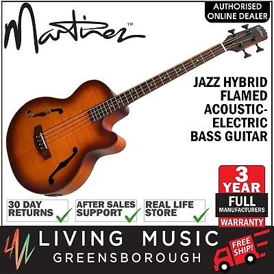 NEW Martinez 4 String Jazz Hybrid Flamed Acoustic-Electric Bass Guitar (Satin)