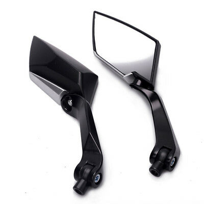 Pair Motorcycle Rear View Side Mirror 8mm 10mm Right Left Turn Adapters black