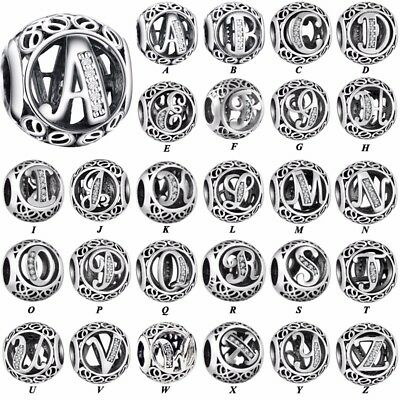 CZ 26 Letters silver charms dangle pendant beads For S925 bracelet chain bangles