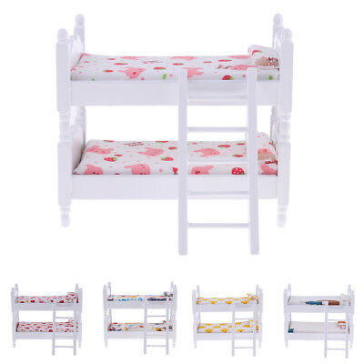 1:12 Wooden Bunk Bed Baby Kids Bedroom Furniture Dollhouse Miniature Decoration