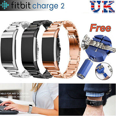 For Fitbit Charge 2 Steel Jewellery Replacement Watches Straps + Free Tools UK C