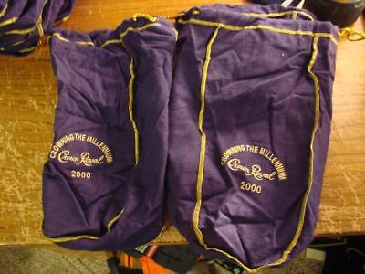 Lot of 4 Large Crown Royal 2000 Crowning The Millennium Purple Bags