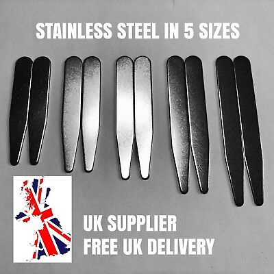 Metal Shirt Collar Stiffeners Magnet Friendly Stainless Steel Choice of 5 Sizes
