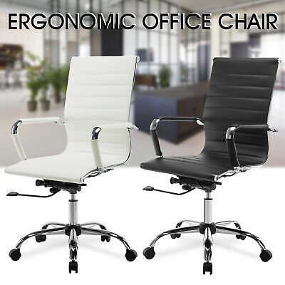 High Back Leather Office Chair Ribbed Executive Task Ergonomic Computer Desk