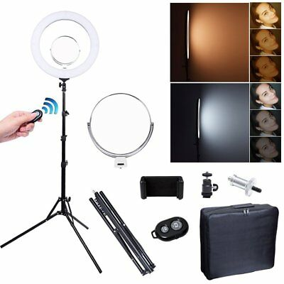 """Studio 80W 19""""/48cm 2700K~5500K LED Dimmable Ring Light With Light Stand Mirror"""