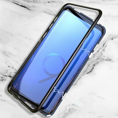 Magnetic Absorption Tempered Glass Metal Frame Case Cover for Samsung S8 S9 Plus