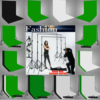 Photo Studio Heavy-Duty Backdrop Stand Adjustable Support SET Muslin Background