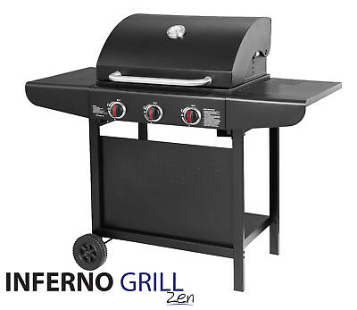 InfernoGrill Zen 3 Burner Outdoor Gas BBQ Black Barbecue Grill **FREE DELIVERY**