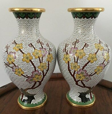 Pair 19th/20thc Chinese Cloisonne VasePlum blossom Motifs 21.5cm tall