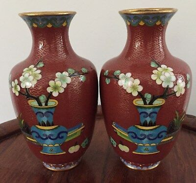 Pair 19th/20thc Chinese Cloisonne Vase Bonsai Motifs  16 cm tall