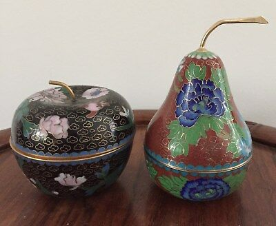 Pair 19th/20thc Chinese Cloisonne Apple and Pear Boxes , 9 cm and 13 cm tall