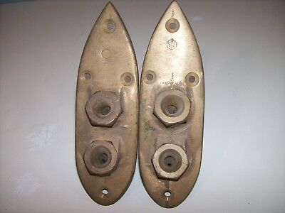 Vintage Merriman Bronze Streamline Deck plates PAIR - RARE MB Sailboat Parts NOS