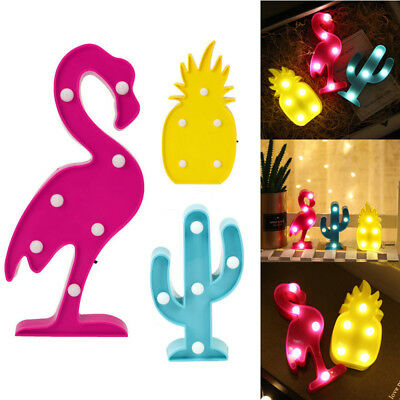 Cute Flamingo Cactus LED Lights Lamp Plastic Frame For Baby Shower/Party/Wedding
