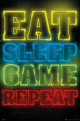 Gaming Eat Sleep Game Repeat Maxi Poster Print 61x91.5cm | 24x36 inches