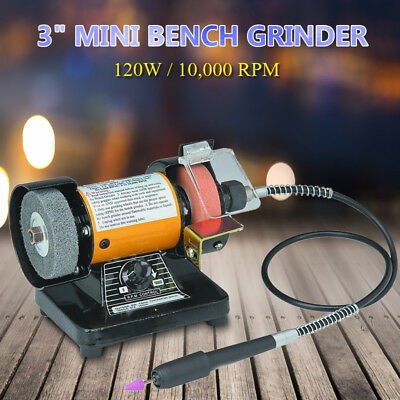 AU 3''110V MINI BENCH GRINDER Rotary Grinder Polisher Tool W/ Flexible Shaft