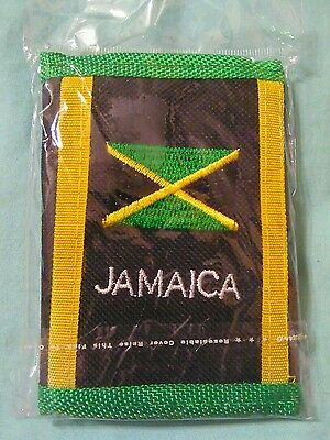 Jamaican flag wallet green black yellow zip pocket in the back for change new