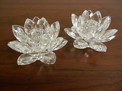 Sarovski Crystal Water Lily Candle Holders, set of 2