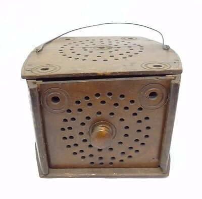 Vintage Used Old Wood Wooden Carved Bed Warmer Coal Shuttle with Metal Insert
