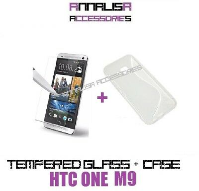Custodia Cover + Pellicola Vetro Temperato Htc One M9 Tpu Case + Tempered Glass