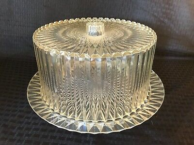 Vtg Retro Plastic Acrylic Cake Plate Saver Carrier Clear Dome Lid Mid-Century