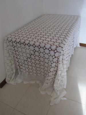 Vintage CROCHET King/Queen BEDSPREAD Overlay Banquet TABLECLOTH White