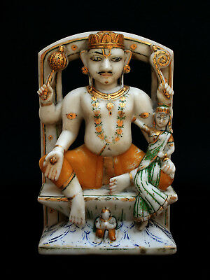 Large Antique Indian Carved Marble Temple Statue Of Vishnu Hindu God Deity