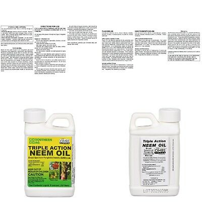 Triple Action Neem Oil Natural Organic Pesticide Fungicide Insecticide Miticide