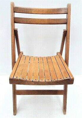 Vintage Used Slat Wood Folding Adirondack Style Collapsible Chair Furniture