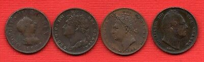 1806 G III, 1822 1826 GEORGE IV, 1831 WILLIAM IV COPPER FARTHING COINS. 4 X 1/4d