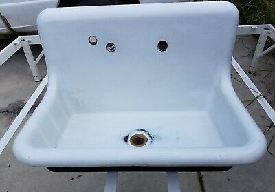 Antique Cast Iron Farmhouse Vintage Kitchen Single Apron Sink 30 IN  Laundry