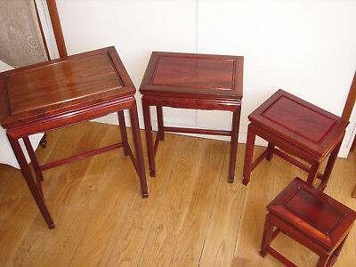 Vintage set of 4 Chinese Rosewood nesting Tables