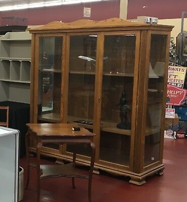 Huge Antique Oak General Store Curio Cabinet Display Showcase Museum Case