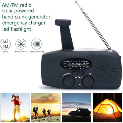 Solar Hand Crank Dynamo AM/FM/WB Weather Radio 3 LED Flashlight Survival Charger