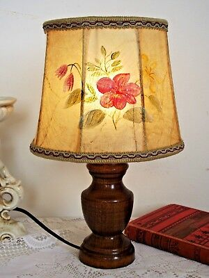 Pretty Vintage French Turned Wood Table Lamp With Floral Hand Painted Shade 691