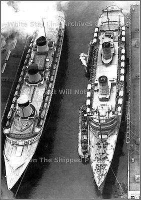 Photo: Grand Aerial The SS Normandie & The RMS Queen Elizabeth, New York, 1940